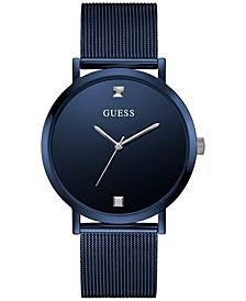 Men's Diamond-Accent Blue Stainless Steel Mesh Bracelet Watch 44mm