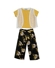 Little Girls Rib Knit top with Vest and Floral Pants, Set of 3