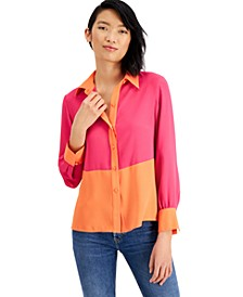 Colorblocked Button-Front Top, Created For Macy's