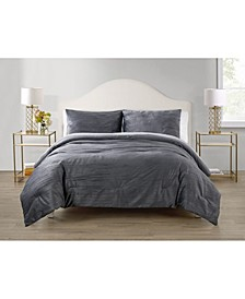 Sadie Crinkle 3 Piece Velvet Comforter Set, Full/Queen