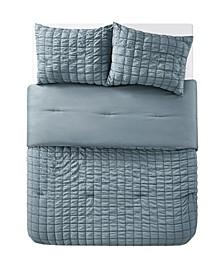 Amelia Seersucker Pleat 3 Piece Comforter Set, Full/Queen