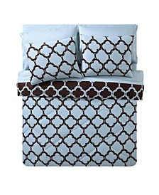 Galaxy Reversible Quatrefoil Bed in a Bag 8 Piece Comforter Set, King