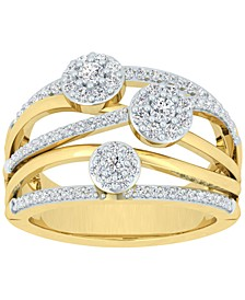Diamond Cluster Multirow Statement Ring (3/4 ct. t.w.) in 10k Gold