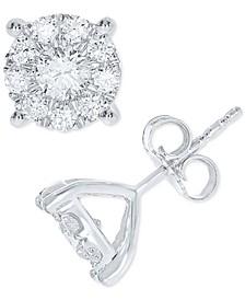Diamond Halo Stud Earrings (1 ct. t.w.) in 10k White Gold