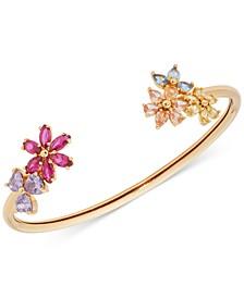 Gold-Tone Multicolor Cubic Zirconia Flower Flexi-Cuff Bracelet