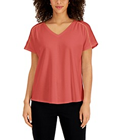 Satin-Trim Top, Created for Macy's