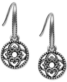 Silver-Tone Heart Circle Drop Earrings
