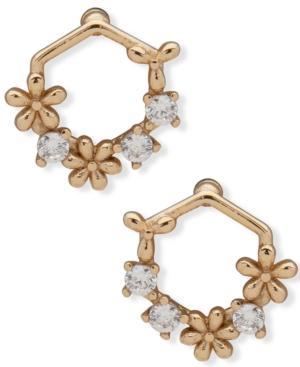 Gold-Tone Crystal & Flower Open Stud Earrings