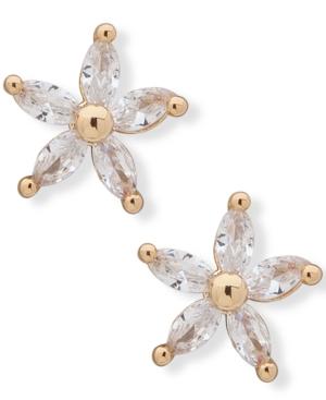 Gold-Tone Cubic Zirconia Flower Stud Earrings