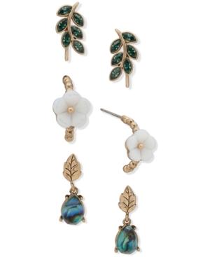 Gold-Tone 3-Pc. Set Crystal Leaf & Flower Earrings
