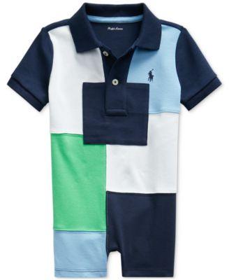 폴로 랄프로렌 Polo Ralph Lauren Baby Boys Patchwork Cotton Polo Shortall,Navy Multi