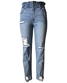 Tinsletown Juniors' Distressed Paperbag-Waist Jeans