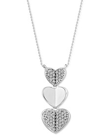 "Diamond Triple Heart 18"" Pendant Necklace (1/10 ct. t.w.) in 10k White Gold"
