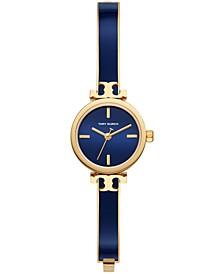 Women's Slim Analog Gold-Tone & Navy Stainless Steel Bracelet Watch 22mm