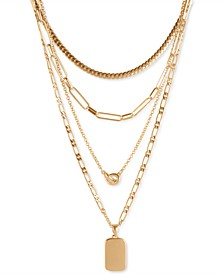 "Gold-Tone Pendant Chain 24"" Layered Necklace"