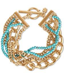 Gold-Tone Turquoise Bead Statement Bracelet