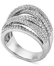 Diamond Multirow Crossover Statement Ring (1-1/2 ct. t.w.) in 10k White Gold