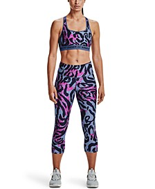 Women's Printed Cross-Back Medium-Support Sports Bra& Printed Capri Leggings