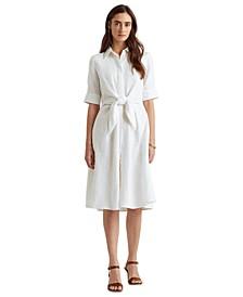Linen Fit & Flare Shirtdress