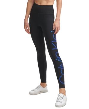 Calvin Klein Performance Jumbo-logo High-waist 7/8 Length Leggings In Bold Blue Foil