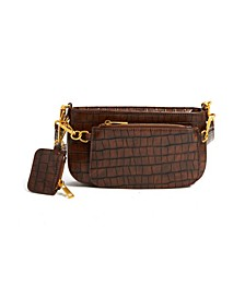 Structured Vegan Leather Crocodile Crossbody
