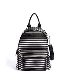 Good Vibes Striped Vegan Leather Backpack