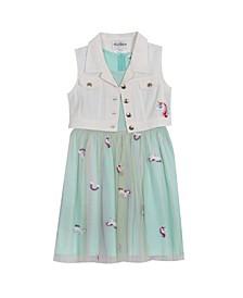 Big Girls Embroidered Mesh Dress with Denim Vest