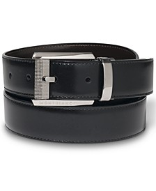 Ruthenium-Coated Pin Buckle Reversible Leather Belt 38163
