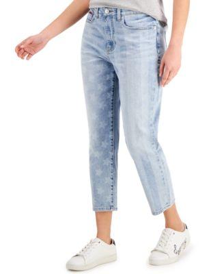 Stars & Stripes-Print Cropped Jeans