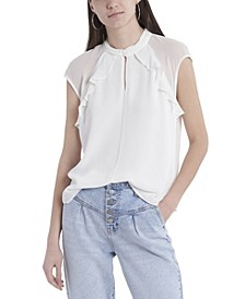 Women's Sleeveless Ruffle Front Mock Neck Blouse