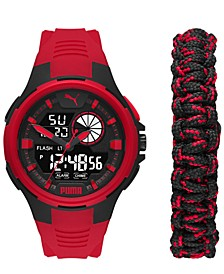 Men's Bold Analog-Digital Red Polyurethane Strap Watch 48mm Gift Set