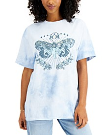 Women's Cotton Butterfly-Graphic Tie-Dyed T-Shirt