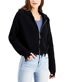Juniors' Destructed Sweater Hoodie