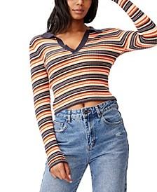 Women's Long Sleeve Knit Rib Polo Top