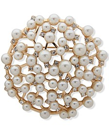 Gold-Tone Pavé & Imitation Pearl Scatter Pin