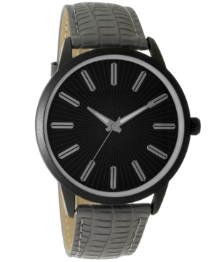 INC INTERNATIONAL CONCEPTS INC MEN'S GRAY EMBOSSED FAUX LEATHER STRAP WATCH 45MM, CREATED FOR MACY'S