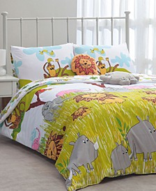 Cheeky Monkey 4-Pc. Reversible Jungle-Print Twin Comforter Set