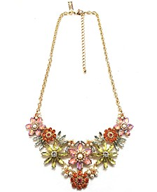 "INC Gold-Tone Multicolor Flower Frontal Necklace, 16"" + 3"" extender"