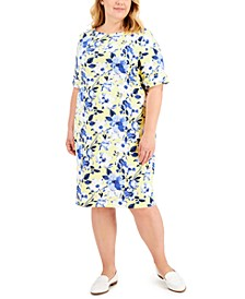 Plus Size Floral-Print Boatneck Dress, Created for Macy's