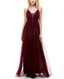 Juniors' Lace-Trim V-Neck Tulle Gown