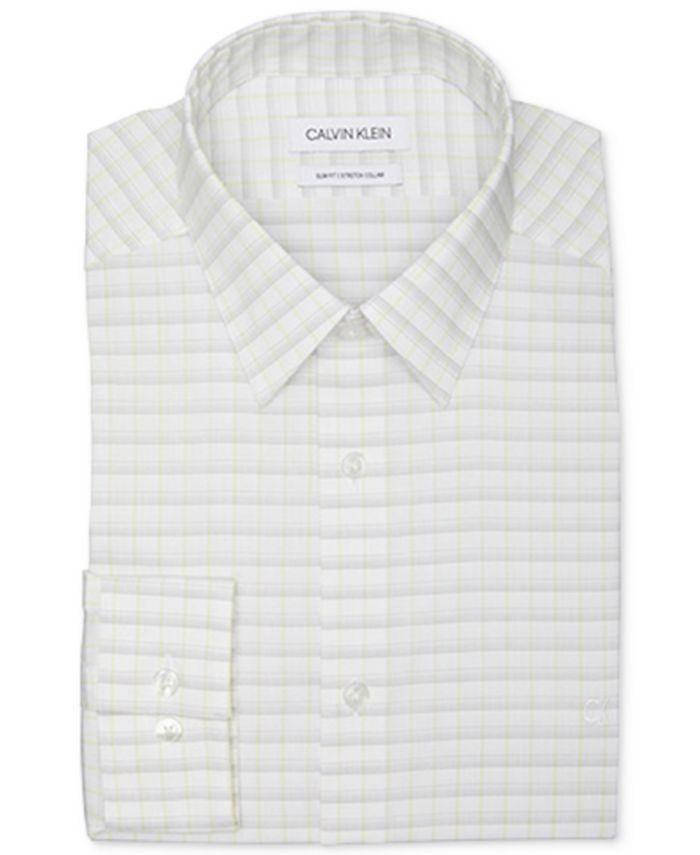 Calvin Klein - Men's Slim-Fit Stretch Collar Check Dress Shirt