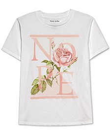 Juniors' Nope Floral-Graphic T-Shirt