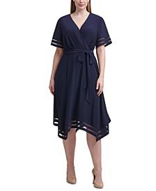 Plus Size Illusion-Striped Faux-Wrap Dress