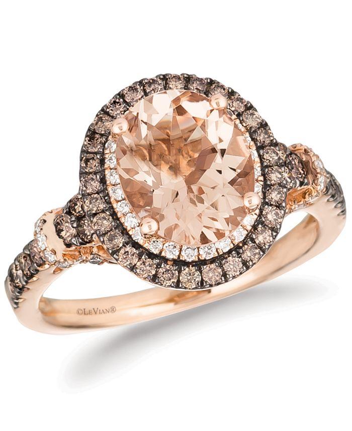 Le Vian - Peach Morganite (1-3/4 ct. t.w.) & Diamond (3/4 ct. t.w.) Ring in 14k Rose Gold
