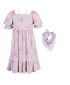 Big Girls Print Peasant Dress with Scarf and Necklace