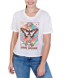 Juniors' Cosmic Dreamer Butterfly-Graphic Burnout-Wash T-Shirt