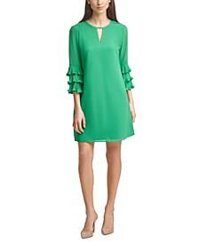 Ruffle-Sleeve Chiffon Shift Dress