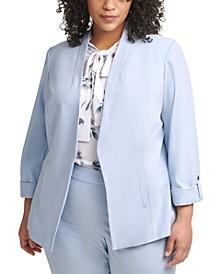 Plus Size Cuffed-Sleeve Blazer