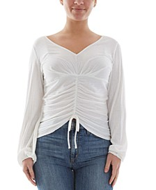 Juniors' Ribbed-Knit Ruched Top