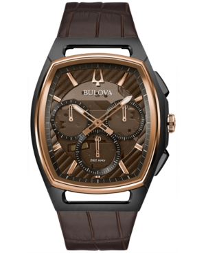 Bulova Watches MEN'S CHRONOGRAPH CURV BROWN LEATHER STRAP WATCH 41.7MM